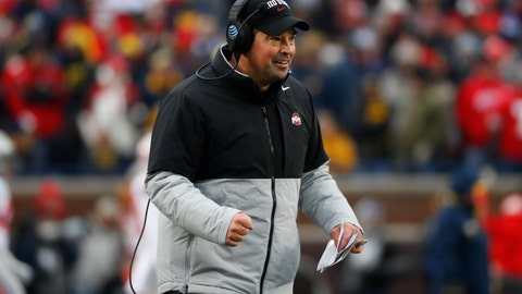 <p>               Ohio State head coach Ryan Day reacts after a touchdown in the second half of an NCAA college football game against Michigan in Ann Arbor, Mich., Saturday, Nov. 30, 2019. (AP Photo/Paul Sancya)             </p>