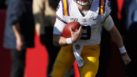 <p>               LSU quarterback Joe Burrow (9) scrambles in the first half of an NCAA college football game against Alabama, Saturday, Nov. 9, 2019, in Tuscaloosa, Ala. (AP Photo/John Bazemore)             </p>