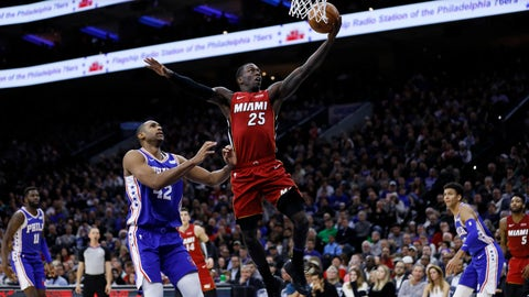 <p>               Miami Heat's Kendrick Nunn (25) goes up for a shot past Philadelphia 76ers' Al Horford (42) during the first half of an NBA basketball game, Wednesday, Dec. 18, 2019, in Philadelphia. (AP Photo/Matt Slocum)             </p>