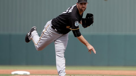 """<p>               FILE - In this March 1, 2017, file photo, Pittsburgh Pirates starting pitcher Josh Lindblom throws in the first inning of an exhibition spring training baseball game against the Minnesota Twins, in Fort Myers, Fla. Lindblom's journey to the Milwaukee Brewers included a detour or two through South Korea. """"I haven't taken the most direct route to sitting here,"""" Lindblom said Monday, Dec. 16, 2019, after the Brewers finalized a three-year contract for $9,125,000. (AP Photo/David Goldman, File)             </p>"""