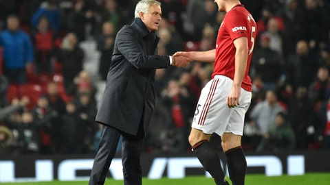 <p>               Tottenham's manager Jose Mourinho shakes hands with Manchester United's Harry Maguire the English Premier League soccer match between Manchester United and Tottenham Hotspur at Old Trafford in Manchester, England, Wednesday, Dec. 4, 2019. (AP Photo/Rui Vieira)             </p>