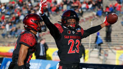 <p>               San Diego State cornerback Darren Hall (23) celebrates with teammate Luq Barcoo after scoring a touchdown on a Central Michigan fumble return during the second half of the New Mexico Bowl NCAA college football game on Saturday, Dec. 21, 2019 in Albuquerque, N.M. (AP Photo/Andres Leighton)             </p>