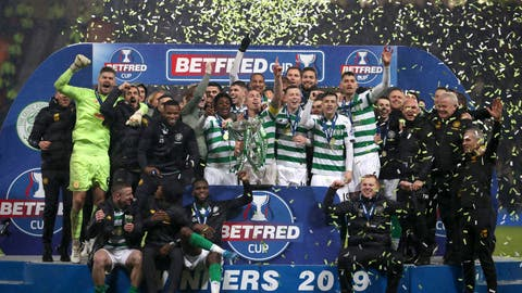 <p>               Celtic celebrate with the trophy after the Scottish Cup soccer Final between Celtic and Rangers at Hampden Park, Glasgow, Scotland, Sunday, Dec. 8, 2019. (Jeff Holmes/PA via AP)             </p>
