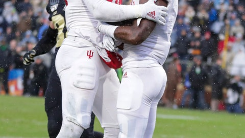 <p>               Indiana wide receiver Whop Philyor (1) celebrates a touchdown catch against Purdue with tight end Peyton Hendershot (86) during the first half of an NCAA college football game in West Lafayette, Ind., Saturday, Nov. 30, 2019. (AP Photo/Michael Conroy)             </p>