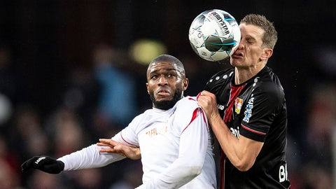 <p>               Cologne's Anthony Modeste, left, and Leverkusen's Sven Bender, right, challenge for the ball during the German Bundesliga soccer match between 1. FC Cologne and Bayer 04 Leverkusen in Cologne, Germany, Saturday, Dec. 14, 2019. (Marius Becker/dpa via AP)             </p>