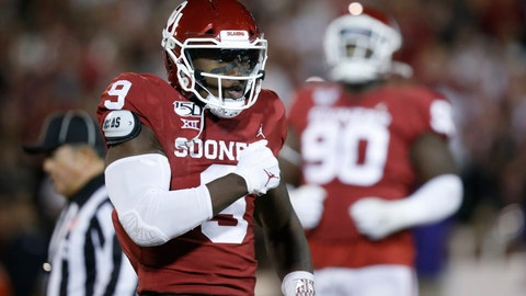 <p>               FILE - In this Saturday, Nov. 23, 2019 file photo, Oklahoma linebacker Kenneth Murray (9) celebrates a tackle during an NCAA college football game against TCU in Norman, Okla. Major improvements on defense have pushed Oklahoma and Baylor into the Big 12 championship game. Oklahoma led the Big 12 in total defense during conference play after finishing last a season ago. Baylor led the Big 12 in scoring defense and ranked third in total defense in league play a year after finishing seventh in total defense and eighth in scoring defense.(AP Photo/Sue Ogrocki, File)             </p>