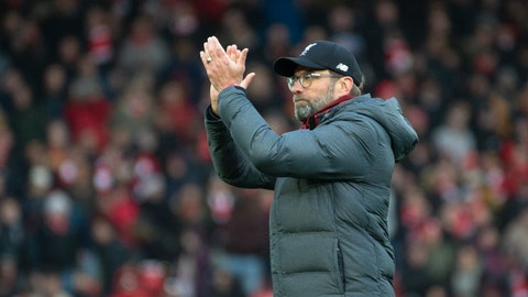 <p>               Liverpool's manager Jurgen Klopp greets fans after the English Premier League soccer match between Liverpool and Watford at Anfield stadium in Liverpool, England, Saturday, Dec. 14, 2019. (AP Photo/Rui Vieira)             </p>