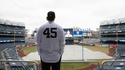 <p>               Gerrit Cole poses at Yankee Stadium as the newest New York Yankees player is introduced during a baseball media availability, Wednesday, Dec. 18, 2019 in New York. The pitcher agreed to a 9-year $324 million contract. (AP Photo/Mark Lennihan)             </p>