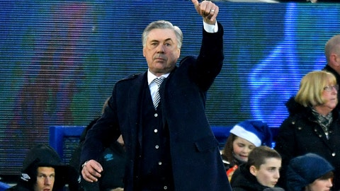 <p>               Everton manager Carlo Ancelotti gestures on the touchline during the English Premier League soccer match between Everton and Burnley at Goodison Park, Liverpool, England, Thursday Dec. 26, 2019. (Anthony Devlin/PA via AP)             </p>