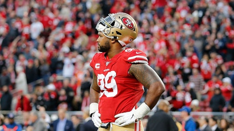 <p>               San Francisco 49ers defensive tackle DeForest Buckner (99) reacts during the second half of an NFL football game against the Atlanta Falcons in Santa Clara, Calif., Sunday, Dec. 15, 2019. (AP Photo/Josie Lepe)             </p>