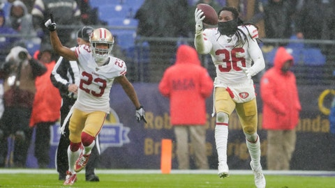 <p>               San Francisco 49ers defensive back Marcell Harris (36) runs after to recovering the ball from Baltimore Ravens quarterback Lamar Jackson who fumble it in the second half of an NFL football game, Sunday, Dec. 1, 2019, in Baltimore, Md. With Harris is teammate cornerback Ahkello Witherspoon (23). (AP Photo/Julio Cortez)             </p>