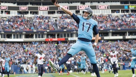 <p>               Tennessee Titans quarterback Ryan Tannehill (17) scores a touchdown on a 1-yard run against the Houston Texans in the second half of an NFL football game Sunday, Dec. 15, 2019, in Nashville, Tenn. (AP Photo/James Kenney)             </p>