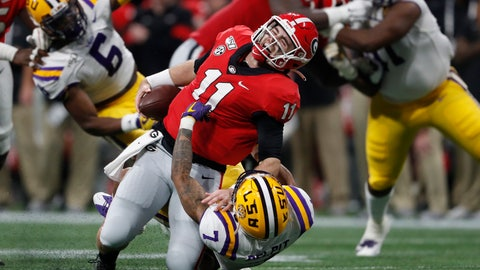 <p>               LSU safety Grant Delpit (7) sacks Georgia quarterback Jake Fromm (11) during the first half of the Southeastern Conference championship NCAA college football game, Saturday, Dec. 7, 2019, in Atlanta. Fromm was injured on the play. (AP Photo/John Bazemore)             </p>