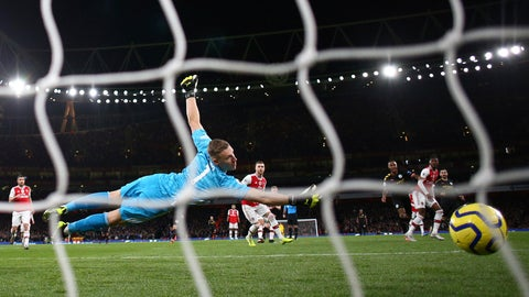 <p>               Arsenal's goalkeeper Bernd Leno, left, fails to save the ball as Manchester City's Raheem Sterling, third right, scores his side's second goal during the English Premier League soccer match between Arsenal and Manchester City, at the Emirates Stadium in London, Sunday, Dec. 15, 2019. (AP Photo/Ian Walton)             </p>
