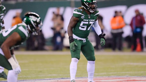 <p>               FILE - In this Monday, Oct. 21, 2019 file photo, New York Jets inside linebacker C.J. Mosley (57) plays during the first half of an NFL football game against the New England Patriots , in East Rutherford, N.J.  C.J. Mosley's injury-shortened first season with the Jets is officially over. The star linebacker was placed on injured reserve Tuesday, Dec. 3, 2019 after playing in just two games because of a severe groin injury suffered in New York's season-opening loss to Buffalo. (AP Photo/Bill Kostroun, File)             </p>
