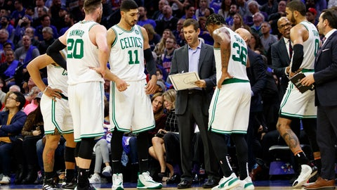 <p>               FILE- In this Oct. 23, 2019, file photo, Boston Celtics head coach Brad Stevens, center, talks things over with his team during the second half of an NBA basketball game against the Philadelphia 76ers in Philadelphia. Many coaches are striking the delicate balance between pushing inexperienced players enough for the players and the team to have success while realizing that the learning curve in the league is often a long one.  (AP Photo/Chris Szagola, File)             </p>