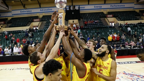 <p>               Maryland players celebrate with the Orlando Invitational Trophy after defeating Marquette during an NCAA college basketball game Sunday, Dec. 1, 2019, in Lake Buena Vista, Fla. (AP Photo/Scott Audette)             </p>