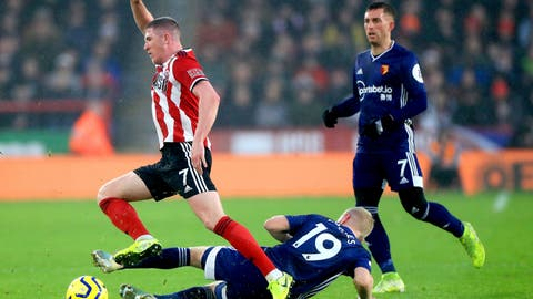 <p>               Sheffield United's John Lundstram, left, and Watford's Will Hughes battle for the ball during their English Premier League soccer match at Bramall Lane, Sheffield, England, Thursday, Dec. 26, 2019. (Mike Egerton/PA via AP)             </p>