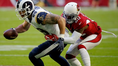<p>               Arizona Cardinals defensive back Tramaine Brock (20) tackles Los Angeles Rams tight end Tyler Higbee (89) during the first half of an NFL football game, Sunday, Dec. 1, 2019, in Glendale, Ariz. (AP Photo/Rick Scuteri)             </p>