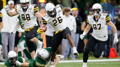 <p>               Appalachian State running back Marcus Williams Jr. (26) carries the ball against UAB during the first half of the New Orleans Bowl NCAA college football game in New Orleans, Saturday, Dec. 21, 2019. (AP Photo/Brett Duke)             </p>