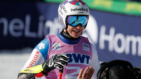 <p>               Switzerland's Marco Odermatt reacts after finishing a Men's World Cup super-G skiing race Friday, Dec. 6, 2019, in Beaver Creek, Colo. (AP Photo/John Locher)             </p>