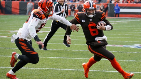 <p>               Cleveland Browns quarterback Baker Mayfield (6) rushes for a 7-yard touchdown during the first half of an NFL football game against the Cincinnati Bengals, Sunday, Dec. 8, 2019, in Cleveland. (AP Photo/Ron Schwane)             </p>