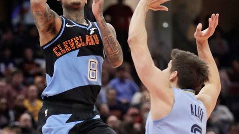 <p>               Cleveland Cavaliers' Jordan Clarkson (8) shoots over Memphis Grizzlies' Grayson Allen (3) in the second half of an NBA basketball game, Friday, Dec. 20, 2019, in Cleveland. (AP Photo/Tony Dejak)             </p>