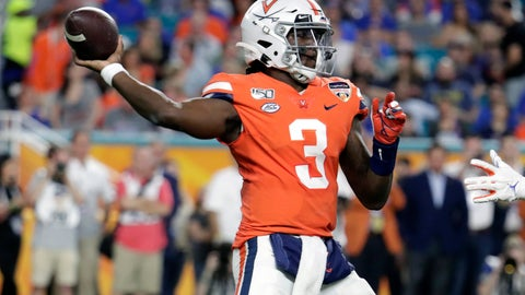 <p>               Virginia quarterback Bryce Perkins (3) stands back to pass during the first half of the Orange Bowl NCAA college football game against Florida, Monday, Dec. 30, 2019, in Miami Gardens, Fla. (AP Photo/Lynne Sladky)             </p>