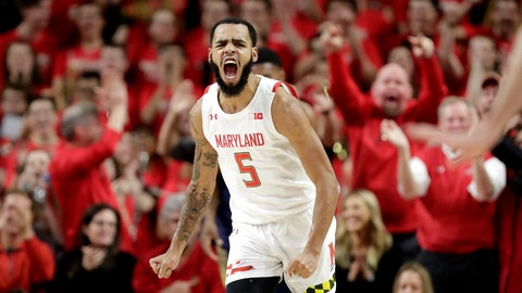 <p>               Maryland guard Eric Ayala reacts after dunking on Notre Dame during the first half of an NCAA college basketball game, Wednesday, Dec. 4, 2019, in College Park, Md. (AP Photo/Julio Cortez)             </p>