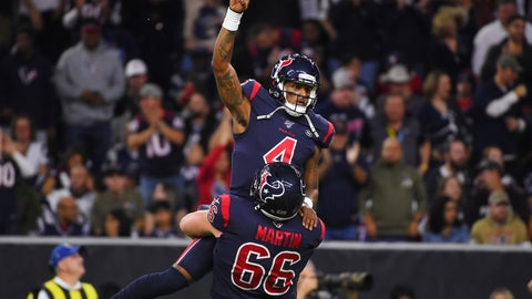 <p>               Houston Texans quarterback Deshaun Watson (4) is lifted by center Nick Martin (66) as they celebrate a touchdown against the New England Patriots during the first half of an NFL football game Sunday, Dec. 1, 2019, in Houston. (AP Photo/Eric Christian Smith)             </p>