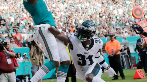 <p>               Miami Dolphins wide receiver DeVante Parker (11) catches a pass for a touchdown as Philadelphia Eagles cornerback Jalen Mills (31) defends, during the second half at an NFL football game, Sunday, Dec. 1, 2019, in Miami Gardens, Fla. (AP Photo/Lynne Sladky)             </p>