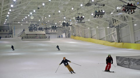 <p>               Snowboarders and skiers enjoy the grand opening of Big Snow in East Rutherford, N.J., Thursday, Dec. 5, 2019. The facility, which is part of the American Dream mega-mall, is North America's first indoor ski and snowboard slope with real snow. (AP Photo/Seth Wenig)             </p>