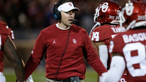 <p>               Oklahoma head coach Lincoln Riley greets players as they return to the sideline after scoring in the first half of an NCAA college football game against TCU in Norman, Okla., Saturday, Nov. 23, 2019. (AP Photo/Sue Ogrocki)             </p>