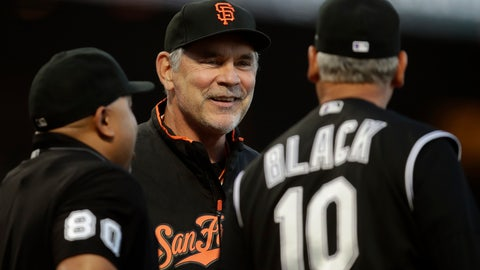 <p>               FILE - In this Sept. 24, 2019, file photo, San Francisco Giants manager Bruce Bochy, center, smiles while speaking to Colorado Rockies manager Bud Black (10) prior to a baseball game in San Francisco. Bochy might be retired from managing in the major leagues after a decorated 25-year career in the dugout with San Diego and San Francisco, yet now he is taking on a new challenge:  Trying to guide his native France to the next World Baseball Classic in 2021. (AP Photo/Ben Margot, File)             </p>