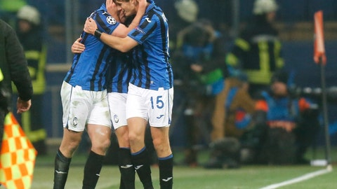 <p>               Atalanta players celebrate their victory after the Group C Champions League soccer match between FC Shakhtar Donetsk and Atalanta in Kharkiv, Ukraine, Wednesday, Dec. 11, 2019. (AP Photo/Efrem Lukatsky)             </p>