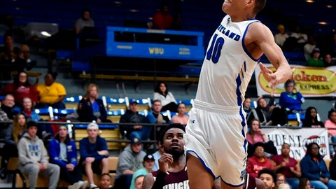 <p>               In this photo provided by Wayland Baptist University, Wayland Baptist guard J.J. Culver (10) shoots during an NAIA college basketball game against Southwestern Adventist, Tuesday, Dec. 10, 2019, in Plainview, Texas. Culver became the fourth college basketball player to score 100 or more points in a game, reaching the century mark in a 124-60 win over Southwestern Adventist on Tuesday night. (Claudia Lusk/Wayland Baptist University via AP)             </p>