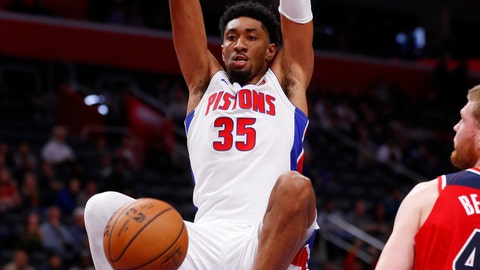 <p>               Detroit Pistons forward Christian Wood (35) dunks on Washington Wizards forward Davis Bertans in the first half of an NBA basketball game in Detroit, Monday, Dec. 16, 2019. (AP Photo/Paul Sancya)             </p>