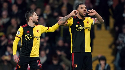 <p>               Watford's Troy Deeney, right, celebrates with Kiko Femenia after scoring against Aston Villa during the English Premier League soccer match at Vicarage Road, Watford, England, Saturday Dec. 28, 2019. (Tess Derry/PA via AP)             </p>