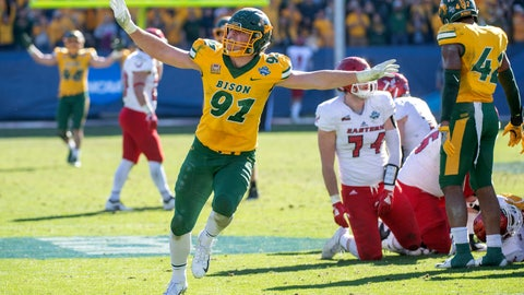 <p>               FILE - In this Jan. 5, 2019, file photo, North Dakota State defensive end Derrek Tuszka (91) waves his arms after sacking Eastern Washington quarterback Eric Barriere in the final minutes of the FCS championship NCAA college football game,  in Frisco, Texas. Tuszka was selected to The Associated Press FCS All-America first team, Tuesday, Dec. 17, 2019.  (AP Photo/Jeffrey McWhorter)             </p>