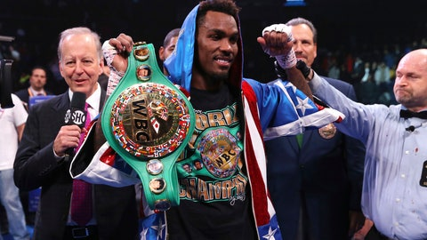 <p>               Jermall Charlo celebrates after defeating Ireland's Dennis Hogan during the seventh round of the WBC middleweight title boxing match Saturday, Dec. 7, 2019, in New York. (AP Photo/Michael Owens)             </p>