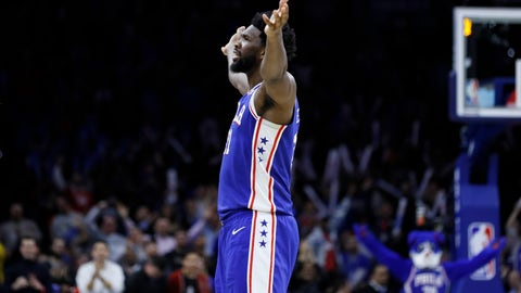 <p>               Philadelphia 76ers' Joel Embiid celebrates after making a basket during the second half of an NBA basketball game against the Denver Nuggets, Tuesday, Dec. 10, 2019, in Philadelphia. (AP Photo/Matt Slocum)             </p>