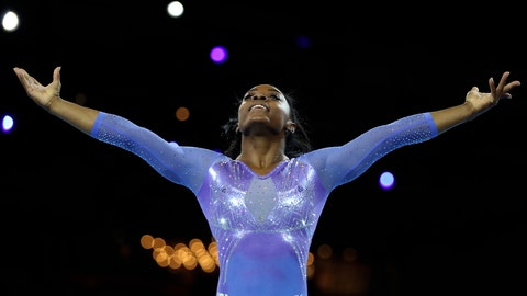 <p>               FILE - In this Oct. 13, 2019, file photo, Gold medalist Simone Biles of the United States performs on the floor in the women's apparatus finals at the Gymnastics World Championships in Stuttgart, Germany. Biles will headline a post-Olympic tour coming to more than 35 cities in late 2020. Biles said the all-female tour will be a mixture of gymnastics and entertainment and is designed to empower young athletes across the country. (AP Photo/Matthias Schrader)             </p>