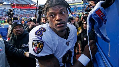 <p>               Baltimore Ravens quarterback Lamar Jackson (8) heads to the locker room after stopping to sign autographs for fans following a 24-17 win over the Buffalo Bills in an NFL football game in Orchard Park, N.Y., Sunday, Dec. 8, 2019. (AP Photo/John Munson)             </p>