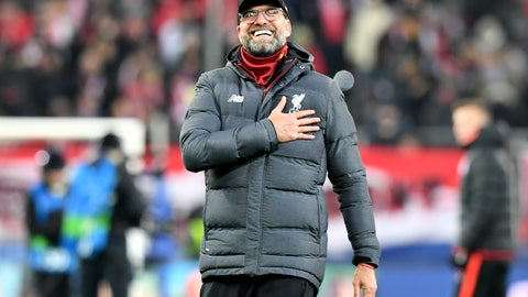 <p>               Liverpool's manager Jurgen Klopp celebrates at the end of the group E Champions League soccer match between Salzburg and Liverpool, in Salzburg, Austria, Tuesday, Dec. 10, 2019. Liverpool won 2:0. (AP Photo/Kerstin Joensson)             </p>
