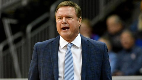 Dec 14, 2019; Kansas City, MO, USA; Kansas Jayhawks head coach Bill Self reacts to play during the first half against the UMKC Kangaroos at Sprint Center. Mandatory Credit: Denny Medley-USA TODAY Sports