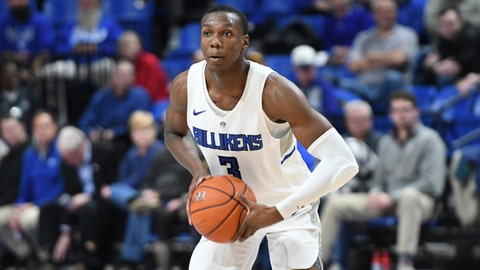 Forward Javonte Perkins plays in the Saint Louis Billikens' game against Maryville on December 17, 2019 at Chaifetz Arena.