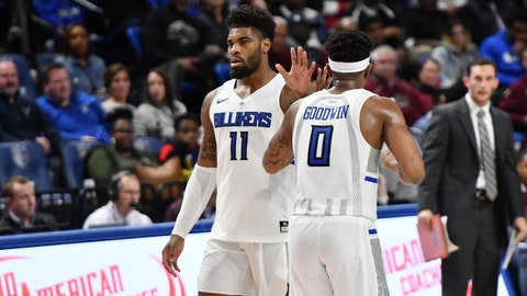 Forward Hasahn French and guard Jordan Goodwin play in the Saint Louis Billikens' game against the Southern Illinois Salukis on December 1, 2019 at Chaifetz Arena.