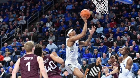 Guard Jordan Goodwin and forward Javonte Perkins play in the Saint Louis Billikens' game against the Southern Illinois Salukis on December 1, 2019 at Chaifetz Arena.