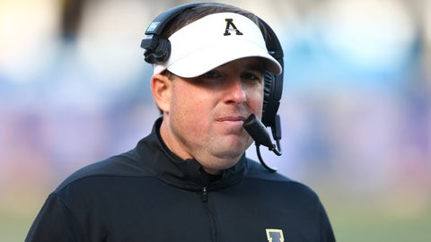 Dec 7, 2019; Boone, NC, USA; Appalachian State Mountaineers head coach Eliah Drinkwitz loons on during the fourth quarter against the Louisiana-Lafayette Ragin Cajuns at Kidd Brewer Stadium. Mandatory Credit: Jeremy Brevard-USA TODAY Sports
