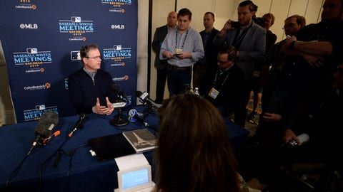 Dec 10, 2019; San Diego, CA, USA; St. Louis Cardinals manager Mike Shildt speaks to the media during the MLB Winter Meetings at Manchester Grand Hyatt. Mandatory Credit: Orlando Ramirez-USA TODAY Sports